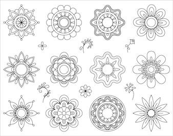 Zestaw ikon mono kwiat linii.
