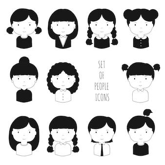 Zestaw ikon monochromatyczne twarze kobiet
