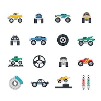 Zestaw ikon monster truck