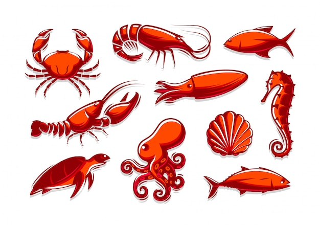 Zestaw ikon morskich stworzeń. kolekcja krabów, krewetek, tuńczyka, kalmarów, homara, ośmiornicy, muszli, żółwia, konika morskiego.