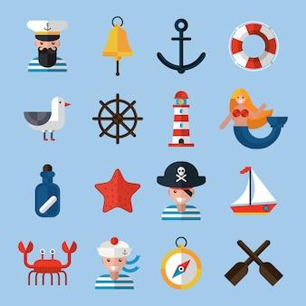Zestaw ikon morskie
