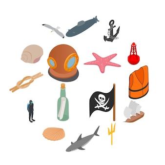 Zestaw ikon morza, styl izometryczny