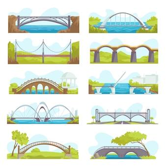 Zestaw ikon mostów ilustracji konstrukcji miejskich i zawieszenia. mostowa architektura miejskich skrzyżowań, budowa mostów dla transportu, budowa mostów rzecznych wraz z jezdnią.