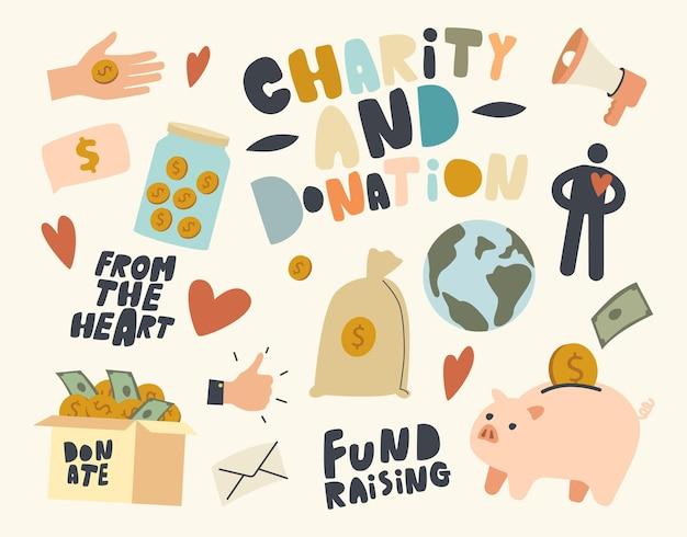 Zestaw ikon motywu pozyskiwania funduszy, wolontariatu, wsparcia charytatywnego i pomocy wolontariuszy