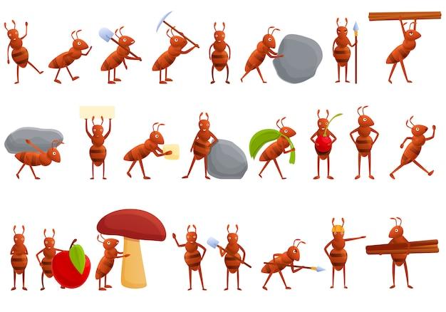 Zestaw ikon mrówek, stylu cartoon