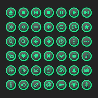 Zestaw ikon multimedialnych w modelu fluorescent.