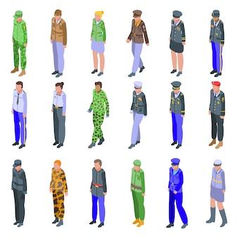 Zestaw ikon mundurów wojskowych. izometryczny zestaw ikon mundurów wojskowych dla sieci na białym tle