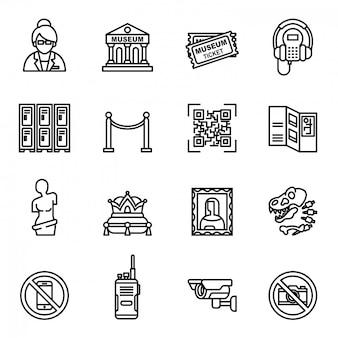 Zestaw ikon muzeum. kolekcja eksponatów muzealnych.