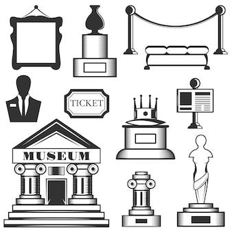 Zestaw ikon muzeum na białym tle. czarno-białe symbole muzeum i elementy projektu. sztuka, posąg, budynek muzeum, bilet.