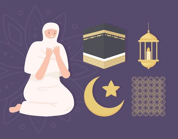 Zestaw ikon muzułmańskiej kobiety