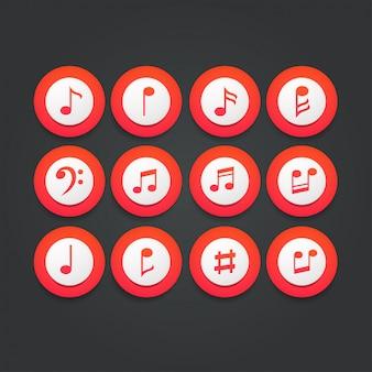 Zestaw ikon muzyczne notatki