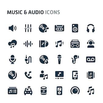 Zestaw ikon muzyki i dźwięku. seria fillio black icon.