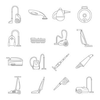 Zestaw ikon mycia odkurzacza