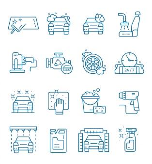 Zestaw ikon myjni samochodowej w stylu konspektu