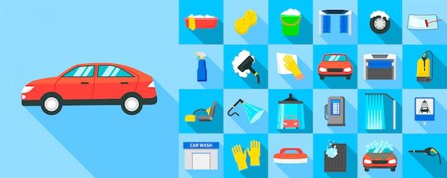 Zestaw ikon myjni samochodowych, płaski
