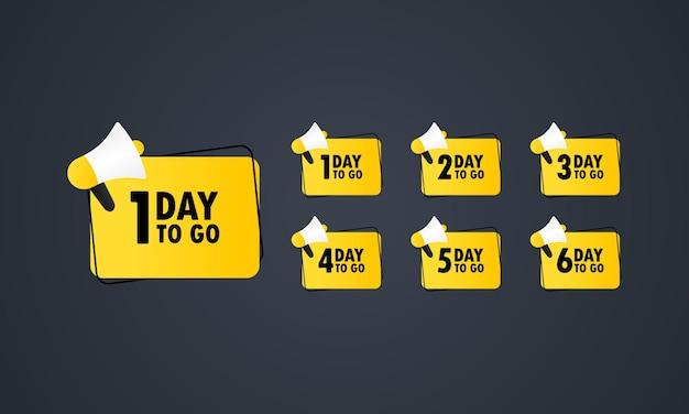 Zestaw ikon na 1 dzień. megafon z wiadomością o 1, 2, 3, 4, 5, 6 dniach na wyjście w dymku.