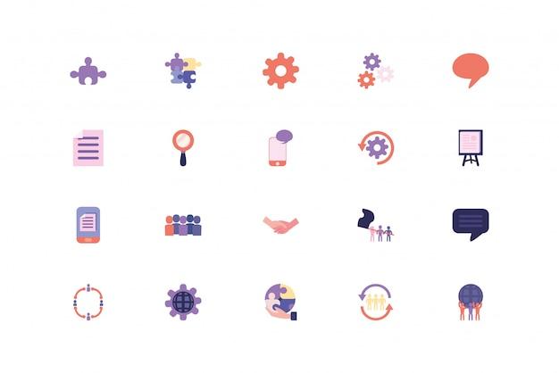 Zestaw ikon na białym tle biznes