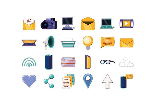Zestaw ikon na białym tle biznesowych i biurowych