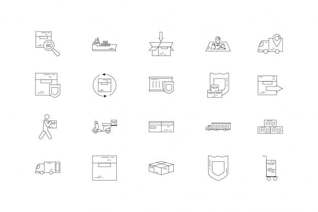 Zestaw ikon na białym tle dostawy