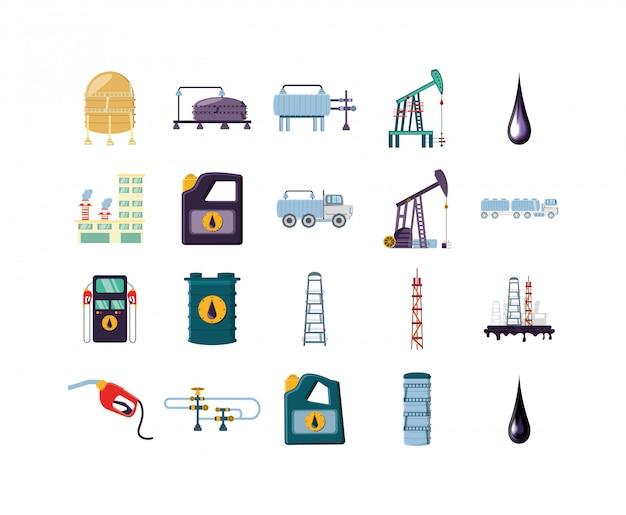 Zestaw ikon na białym tle fabryki
