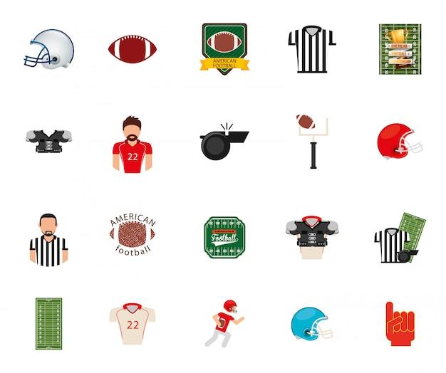 Zestaw ikon na białym tle futbol amerykański