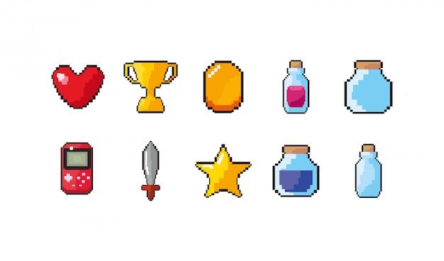 Zestaw ikon na białym tle gry wideo