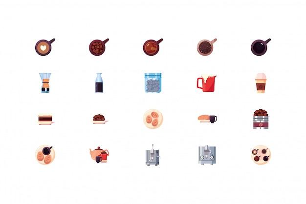 Zestaw ikon na białym tle kawy