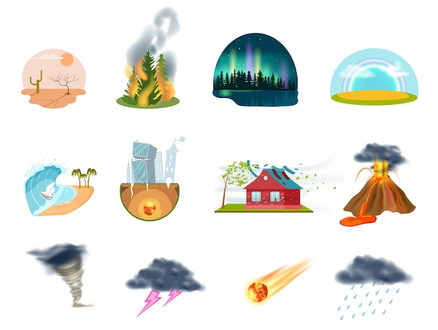Zestaw ikon na białym tle klęski żywiołowe