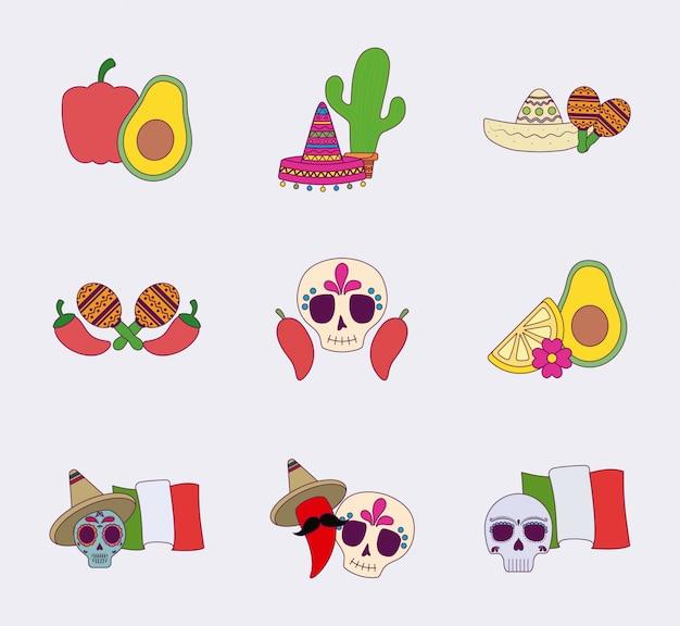 Zestaw ikon na białym tle kolorowy meksykański