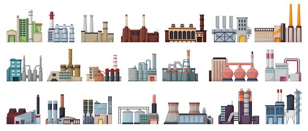 Zestaw ikon na białym tle kreskówka fabryka przemysłu. kreskówka zestaw ikona produkcji budynku.