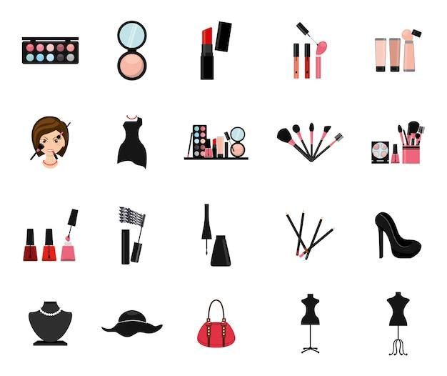 Zestaw ikon na białym tle makijaż
