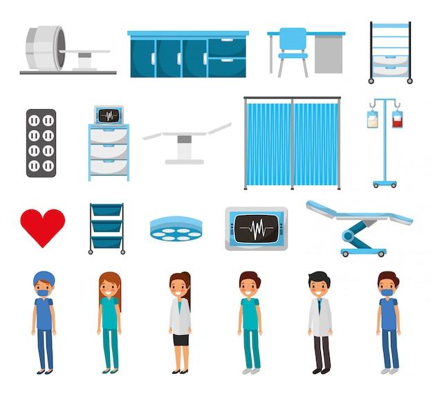 Zestaw ikon na białym tle medycznych