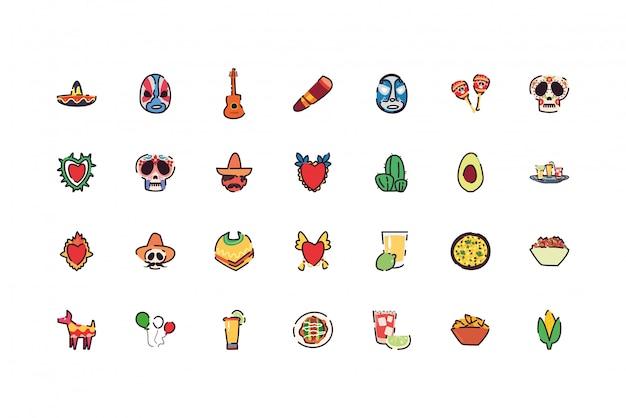 Zestaw ikon na białym tle meksykański