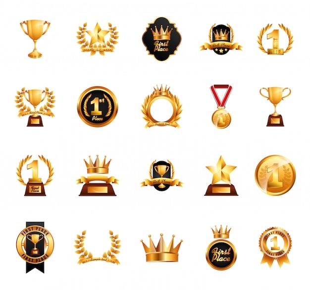 Zestaw ikon na białym tle nagrody