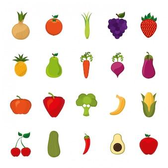 Zestaw ikon na białym tle owoce i warzywa