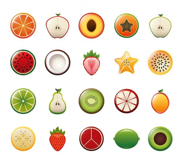 Zestaw ikon na białym tle owoce