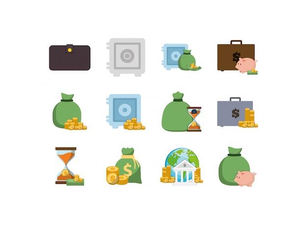 Zestaw ikon na białym tle pieniądze