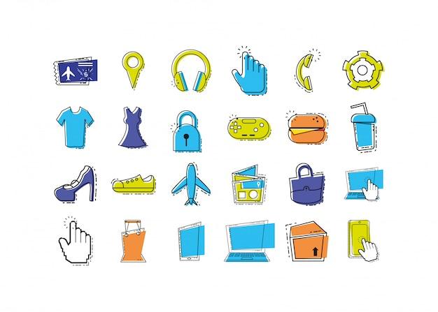 Zestaw ikon na białym tle podróży i lotniska