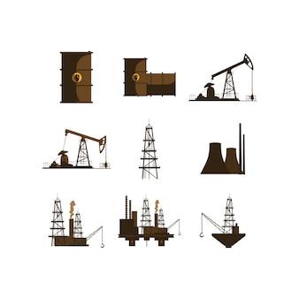 Zestaw ikon na białym tle przemysłu ropy naftowej