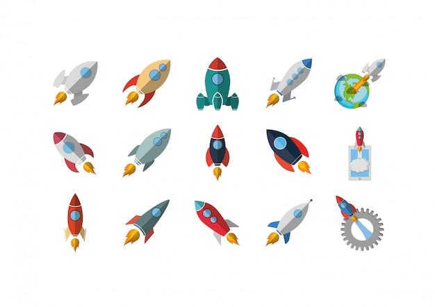 Zestaw ikon na białym tle rakiety