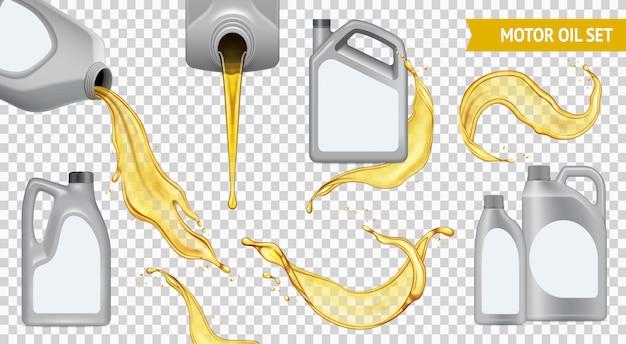 Zestaw ikon na białym tle realistyczne przezroczysty olej silnikowy jerrycan z żółtym olejem na przezroczystym