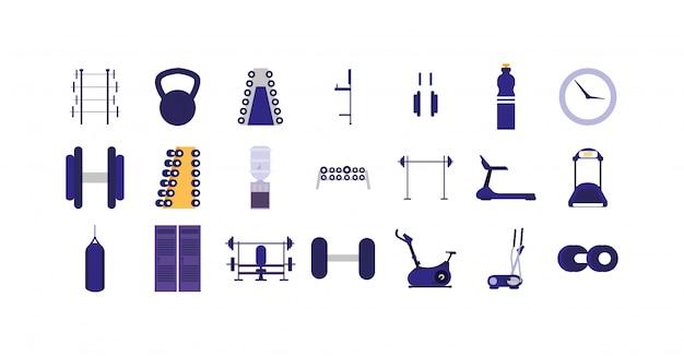 Zestaw ikon na białym tle siłowni