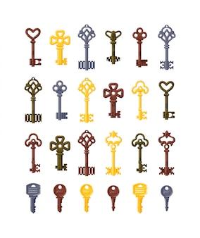 Zestaw ikon na białym tle vintage klucz