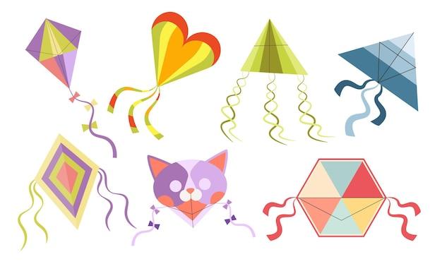 Zestaw ikon na białym tle wektor kreskówka latawce. zabawki papierowe dla dzieci z jasnymi skrzydłami i tęczowymi wstążkami na ogonie. latający kot