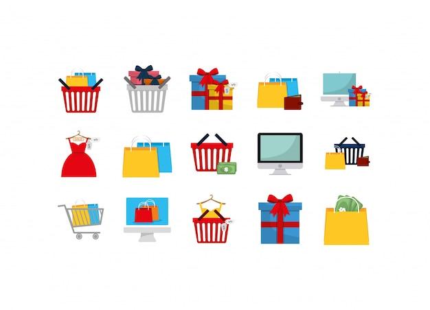 Zestaw ikon na białym tle zakupy i e-commerce