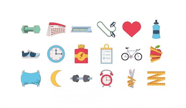 Zestaw ikon na białym tle zdrowego stylu życia