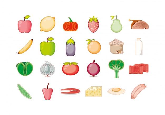 Zestaw ikon na białym tle zdrowej i ekologicznej żywności