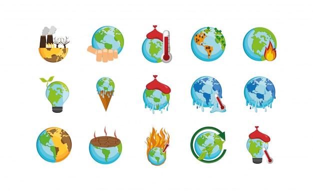 Zestaw ikon na białym tle zmiany klimatu