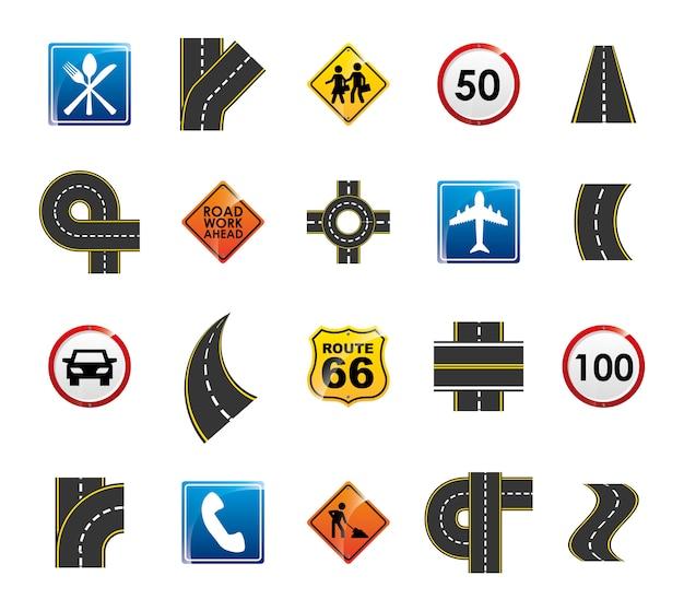 Zestaw ikon na białym tle znak drogowy