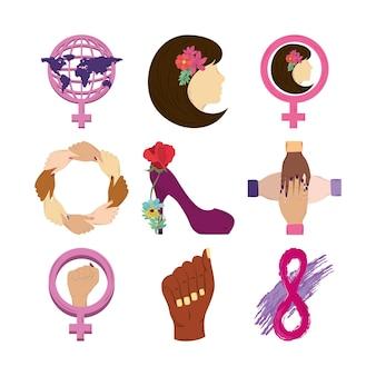 Zestaw ikon na dzień kobiet